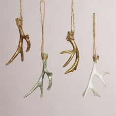 The perfect bohemian addition to your Christmas tree! Deer Antler Ornaments, Set of 4   World Market