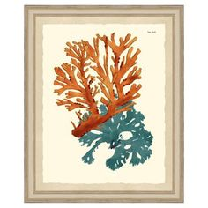 Check out this item at One Kings Lane! Teal-and-Orange Coral Print III