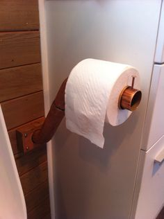 Toilet roll holder out of an old copper pipe