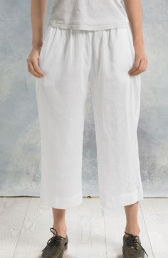Textured Voile Culottes - White - Soft, airy, and ever so slightly sheer, this playful pant provides the perfect layer to wear under long tunics and short dresses. Style has elastic waist and side pockets.