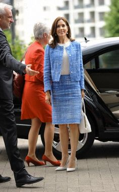 June 24, 2013--Crown Princess Mary of Denmark. Beautiful Chanel suit but she rarely wears it as a suit but seems to prefer it as separates--its lovely on her.