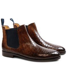 Ankle Boots Susan 10 Crock Dark Brown Elastic Navy HRS