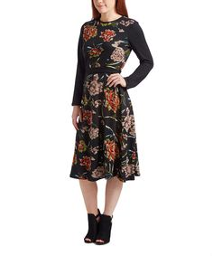 This Nancy Yang Black Floral A-Line Dress by Nancy Yang is perfect! #zulilyfinds