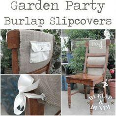 garden party burlap slipcovers