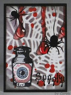 Caro's Welt: Halloween ATC using Designs by Ryn: Trickling Water Set 2 (Unmounted: Water Effects 2)