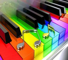 Rainbow Piano Keys and Music Notes Love Rainbow, Taste The Rainbow, Over The Rainbow, Rainbow Colors, Rainbow Things, Rainbow Magic, Bright Colors, Rainbow House, Rainbow Stuff