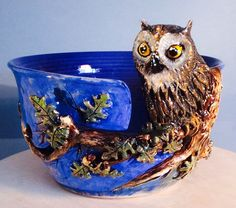 Owl yarn bowl. by EarthWoolFire on Etsy, £100.00