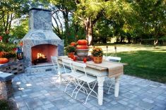 Outdoor Fireplace Fall Mantel Decorations