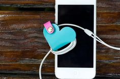 Leather Heart could Earbud Organizer, Cable Winder, Earpiece Organizer, Earphone and Cable Organizer, Earbud Holder