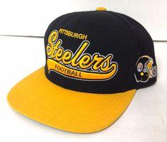 Mitchell-and-Ness PITTSBURGH STEELERS SNAPBACK HAT Black/Yellow Script Men/Women #MitchellNess #PittsburghSteelers