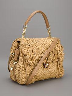 DOLCE & GABBANA Beige Sicily Raffia Handbag