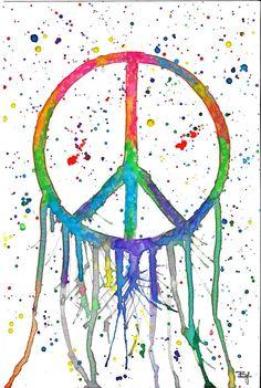 Original 6x9in signo de la paz Colorsplash acuarela por BrietronArt