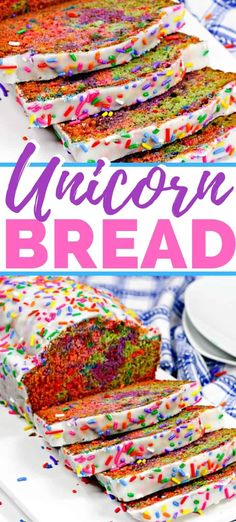Unicorn bread - a rainbow sprinkle covered unicorn quick bread recipe, perfect to serve as a sweet breakfast treat after a unicorn sleepover party. #unicorn #unicornparty #uniconfood #unicornbithday #breakfastrecipes