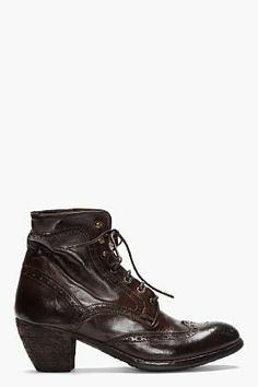 Officine Creative Dark Brown Leather Ignis Wingtip Brogue Boots for women | SSENSE