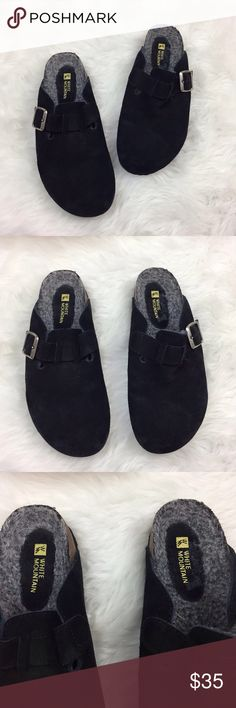 🎁White Mountain Black Suede Teddy Leather Clogs White Mountain Women's Black Suede Teddy Leather Upper Slip-on Clogs Size 8  This has been gently worn with no major flaws.  Please refer to photos for more details. White Mountain Shoes Mules & Clogs