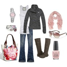 Pink & Grey - Click image to find more Women's Fashion Pinterest pins