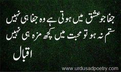 Jafa jo ishq mein hoti hai wo jafa hi nahi,Satam na ho toh mohabbat mein kuch maza hi nahi (Allama Iqbal) !!! The voice of Soul