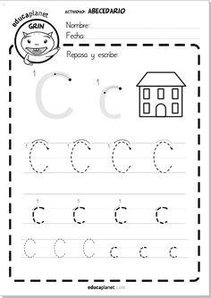 Lectoescritura infantil sobre papel LETRA C  #grafomostricidad #mayuscula #minuscula by @evabarcelo y LEO CON GRIN en #app www.educaplanet.com