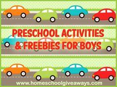Boy Themed Preschool Activities and Freebies @ Homeschool Giveaways