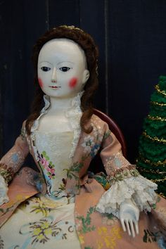 """Queen Anne and Izannah Walker Reproduction Dolls: """"Bessie"""" Hand-carved Queen Anne Wooden Doll........."""