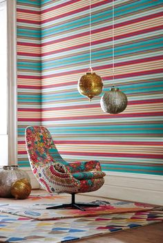 The Harlequin Studio has embraced a number of diverse influences to produce Jardin Boheme. -I like the chair- Marimekko Wallpaper, Print Wallpaper, Home Wallpaper, Pattern Wallpaper, Wallpaper Online, Harlequin Fabrics, Harlequin Wallpaper, Striped Wallpaper, Orange And Turquoise