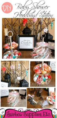 Make beautiful headbands for a baby shower headband station! We provide instructions and downloadable sign for your headband making! This baby shower headband making station has wonderful baby shower ideas for girls!