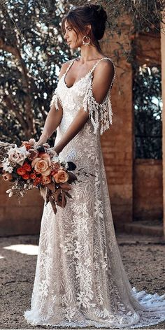 24 Top Wedding Dresses For Bride ❤️ top wedding dresses boho a line with spaghetti straps lace grace loves lace ❤️ Full gallery: https://weddingdressesguide.com/top-wedding-dresses/