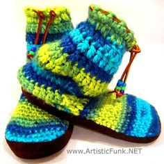 7.5 Tall Crew Height Bootie Slipper Socks Boho by ArtisticFunk, $65.00