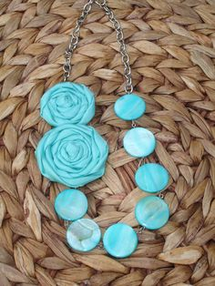 Aqua Blue Rosette Necklace by bohochiccreations on Etsy, $20.00