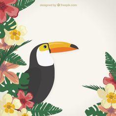 Fundo tropical com um Toucan Vetor grátis