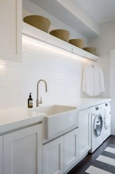 A fresh, Hamptons style laundry with ample hanging space. Notice the clever stri… A fresh, Hamptons style laundry with ample hanging space. Notice the clever strip lighting above. Mudroom Laundry Room, Laundry Room Layouts, Laundry Room Remodel, Farmhouse Laundry Room, Laundry Room Organization, Laundry In Bathroom, Small Laundry, Budget Bathroom, Mudrooms With Laundry