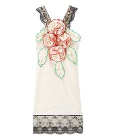 Look at this #zulilyfind! Ivory & Red Rosette Shift Dress - Infant, Toddler & Girls by Little Miss Fashion #zulilyfinds