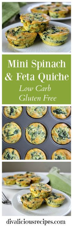 A mini spinach feta quiche that is crust-less and baked in a muffin tin. Great for breakfast, brunch, a light lunch, picnic or snack. Recipe: http://divaliciousrecipes.com/2017/02/06/mini-spinach-feta-quiche/