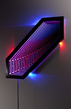 Chromatophore , wood, reflective glass, mirror, MDF and LED lights, 87 x 87 x 13cm. Photo: Pippy Mount.