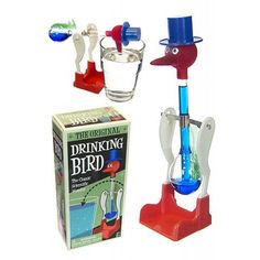 The Original Drinking Bird has been a scientific novelty favorite for decades. Our amazing drinking bird bobs his blue top hat and red beak into a glass water again and again. When the funny bird gets going, he appears to be a perpetual motion machine, Vintage Toys 1970s, 1960s Toys, Retro Toys, Vintage Stuff, 1980s, My Childhood Memories, Childhood Toys, Sweet Memories, Drinking Bird