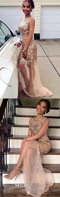 Long Prom Dresses Gold, Sheath Prom Dresses With Slit, Tulle Prom Dresses Modest, Crystal Prom Dresses Sparkly Sequin Prom Dresses, Tulle Prom Dress, Prom Dresses Online, Prom Party Dresses, Pageant Dresses, Dresses For Teens, Trendy Dresses, Evening Dresses, Graduation Dresses