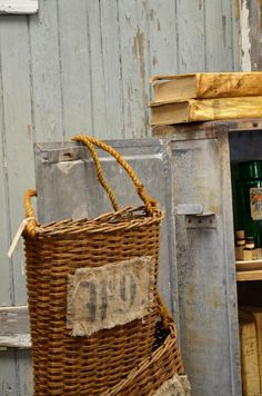 Old Wicker Wall Baskets...grungy muslin with printed numbers...industrial metal...old books...chippy wood.