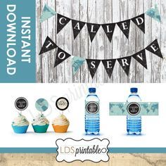 Called to Serve LDS (The Church of Jesus Christ of Latter Day Saints) Missionary Banner. For Sisters or Elders. Perfect for a open house, farewell, or welcome home. Includes Banner, Cupcake toppers, and Water Bottle Labels.