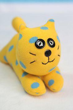 Handmade  Sock  Cat   stuffed  animal  dolls   Soft  by hellykary, $10.50