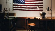 american flag and sewing machine