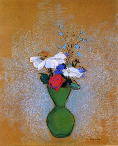Odilon Redon - Rose, Peony and Cornflowers in a Green Vase