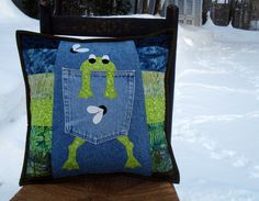 Green Hungry Frog Recycled Jean Denim Pillow by BackPocketDesign
