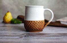 Glazes For Pottery, Pottery Mugs, Brown Dinnerware, Stoneware, Earthenware, Tea Mugs, Coffee Mugs, White Clay, Handmade Pottery