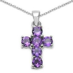 @Overstock - Six rich purple amethysts are set in a cross design on this pretty necklace. The pendant and matching cable chain are crafted of .925 sterling silver with a rhodium finish to prevent tarnishing.http://www.overstock.com/Jewelry-Watches/Sterling-Silver-Genuine-Amethyst-Cross-Necklace/4762395/product.html?CID=214117 $37.34