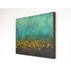 teal blue turquoise aqua brown mustard yellow modern art mid century... ($185) ❤ liked on Polyvore featuring home, home decor, wall art, art, interior, turquoise home accessories, turquoise wall art, turquoise canvas wall art, acrylic painting and brown home decor
