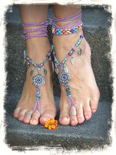 PURPLE wedding BAREFOOT SANDALS Lotus Toe anklets crochet foot jewelry Boho Hippie Flower Beach sandals Wedding Leaves Fairy jewelry