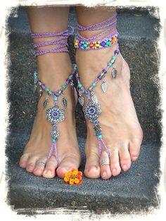 PURPLE wedding BAREFOOT SANDALS Lotus Toe anklets crochet foot jewelry Boho Hippie Flower Beach sandals Wedding Leaves Fairy jewelry