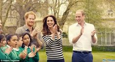 The young royals cheered on marathon participants as they went for a practice run in the g...