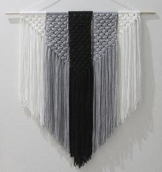 Black White and Gray Macrame Wall Hanging