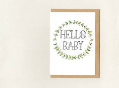 HELLO BABY . greeting card . nursery decor . new baby welcome